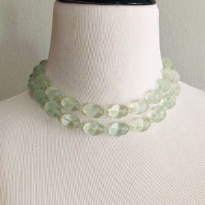 Vintage double strand necklace sea glass green